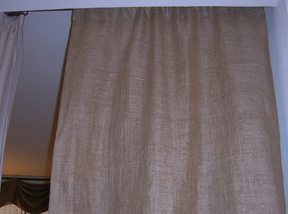 Lined Burlap Panel with Rod Pocket Up To 84 inches