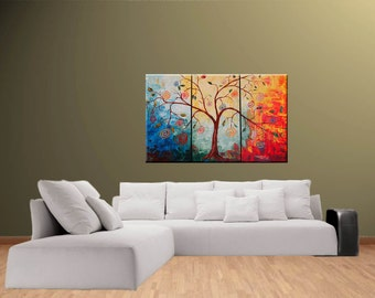 Tree Impasto Painting Wall Art ORIGINAL Modern The Lollipop Tree Large Abstract Fine Art texture Palette knife oil 30x45 Painting by IraSher