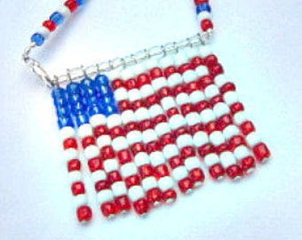 American Flag Necklace, US Flag Necklace, U.S. Flag Necklace  ID 254