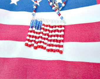 U.S. Flag Necklace, American Flag Necklace, US Flag Necklace  ID  256