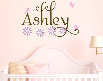 Girl Name Wall Decal Birds Decals Flowers Wall Decals Girls Bedroom Decals Personalized Wall Decor Wall Stickers For Kids Vinyl Lettering