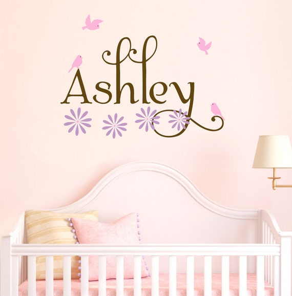 Girl Name Wall Decals Nursery Birds Decal Set Flowers Baby Toddler Children Vinyl Sticker Decor Personalized Wall Art Bedroom Decals