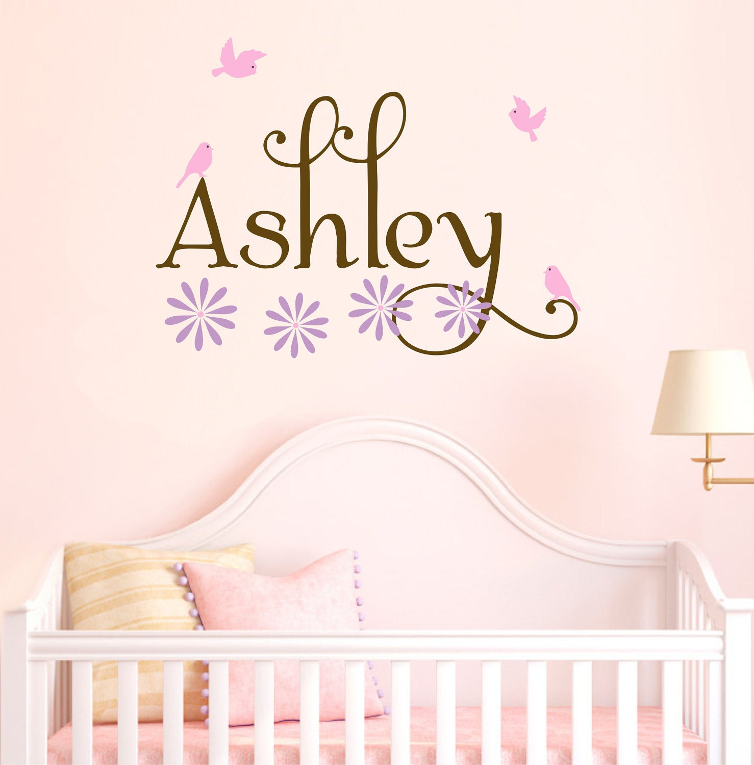 Girl name wall decals nursery birds decal set flowers baby for Baby mural stickers