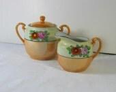 Vintage LUSTREWARE CREAM & Sugar Bowl Peach Luster Hand Painted Japan Tea Party