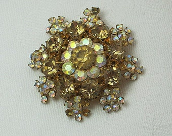 Vintage RHINESTONE BROOCH Gold IRIDESCENT Snowflake Pin Holiday GIft