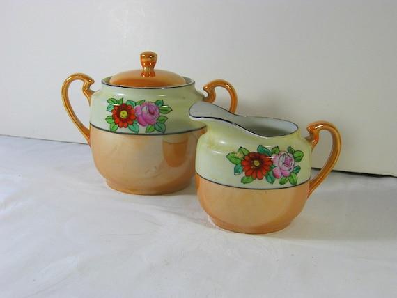 Vintage HANDPAINTED PEACH Cream & Sugar Bowl TEA Party Lustreware Luster Japan