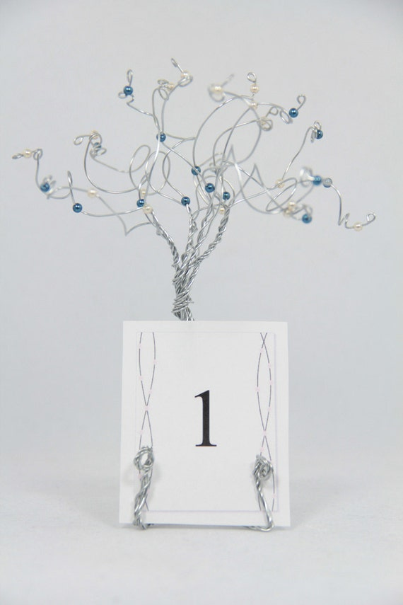 wedding table number holders custom set of five trees in your wedding colors
