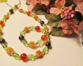Colors of Spring Necklace - Amethyst, Carnelian, Aventurine and Pearls - CIJ Christmas in July SALE