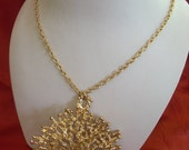 Vintage gold nugget snowflake necklace