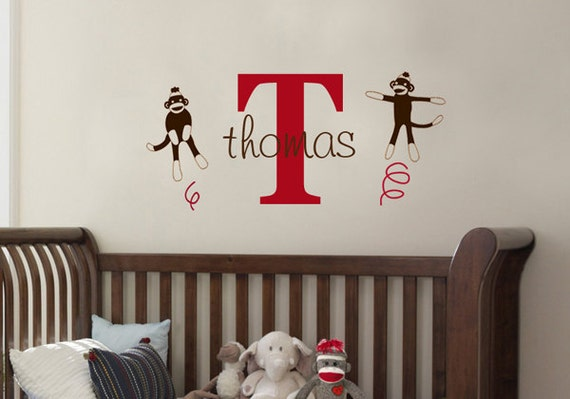Sock Monkey Name Initial Kids Vinyl Wall Decal