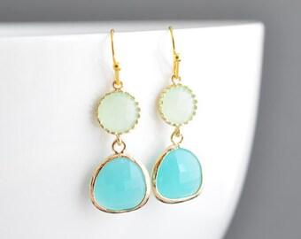 30% OFF, Apple green earrings, Mint blue earrings, Gold earrings, Wedding earrings, Bridal jewelry,Bridesmaid gift,Clip earrings,Goldfilled