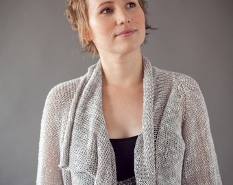 Woman Knitted Jacket - Grey Cardigan - (A159)