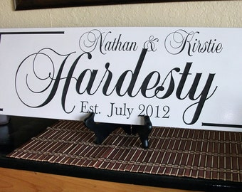 Personalized Family Name Sign Last Name Sign Family Established Sign Engraved and Painted 8 x 22