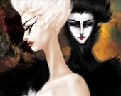 Swan Lake Print 13x19 Black Swan Ballet Art Illustration