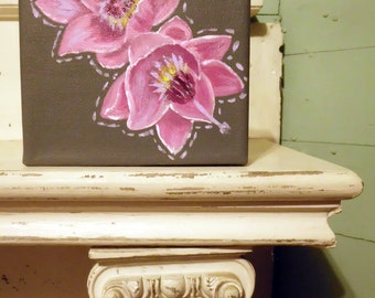 """Heather acrylic painting is the 8th in the """"Alphebet Floral"""" series."""