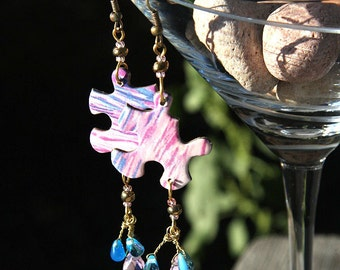 PUZZLE Earrings. Paper Earrings. Wire wrapped Crystal Drop and Teardrops in Pink Purple Blue - Recycled Ocean Jigsaw Puzzle