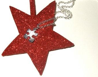 Jigsaw Necklace, Puzzle Piece Pendant, Silver Plated Jigsaw, Simple Necklace, Jigsaw Piece Charm, Puzzle Necklace, Silver Puzzle Charm