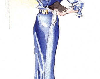 SALE: Afternoon Frock of Blue Satin, 1934