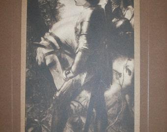 1890s Frederick Hollyer Platinum Print of Sir Galahad by Frederic G. Watts in original frame