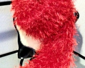 HOT HOT HOT Fiery Red Hand-knitted, Softest-ever Long, Faux Fur Scarf (reserved for Robin)