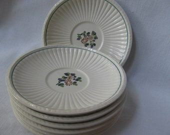 "Wedgwood China Edme Saucers Set of SEVEN Floral Pattern 5 3/4"" Saucers Wedding Shower Party Dinnerware MyVintageTable"