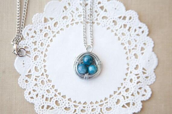 aqua wire wrapped bird nest necklace