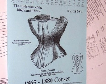 Victorian Corset Multi Sized Sewing Pattern for 1865 - 1880 - 1870-1