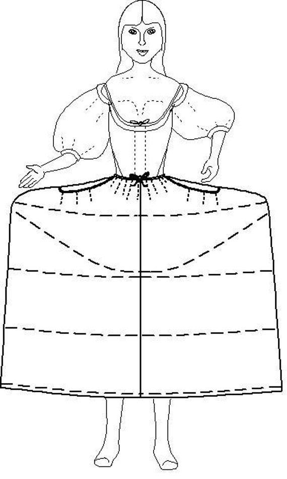 Panniers Sewing Pattern: Court Hoops / Georgian Pattern - 1700-3