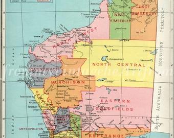 Australia map, Western Australia Map, Perth, Australia 1940s