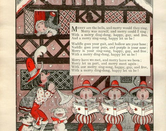 Christmas 1930, CHRISTMAS Print to give your Christmas an Antique feel, Merry Are The Bells And Merry Would They Ring, Verse
