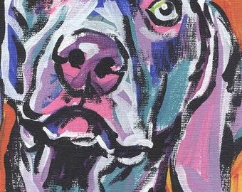 "Weimaraner Dog art print modern dog pop art bright colors  13x19"" LEA"