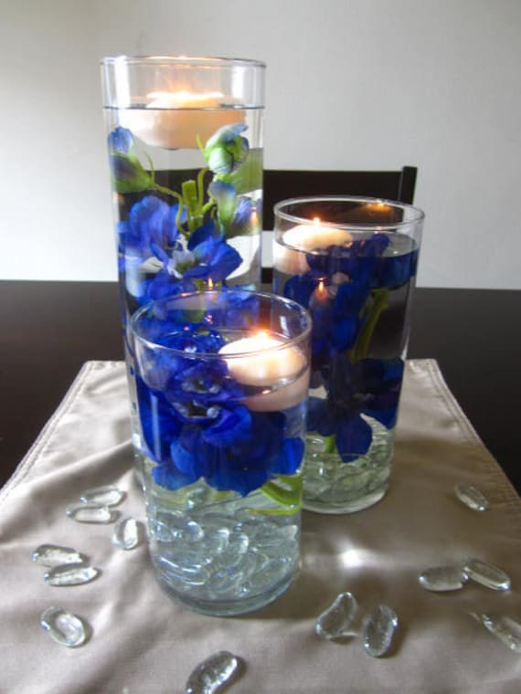 Items similar to blue delphinium flower floating candle