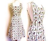 Vintage Apron Handmade Retro Mexican Print 1940s Rustic Full Apron Dress