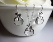 Sterling Silver - Necklace and earring set - Clear Crystal - Orchids - Bridal Jewelry - bridesmaids - gift -