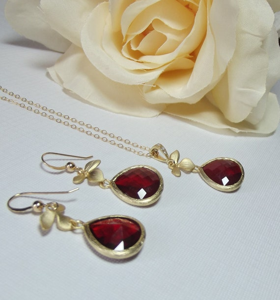 Orchid Necklace and Earring SET - Red Czech Glass - Beautiful Gold Frames - Bridal - Formal - Gift - Mother - Wedding Jewelry