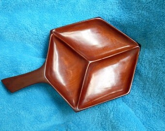 Haitian Mahogany Nut Tray with Handle Mid Century