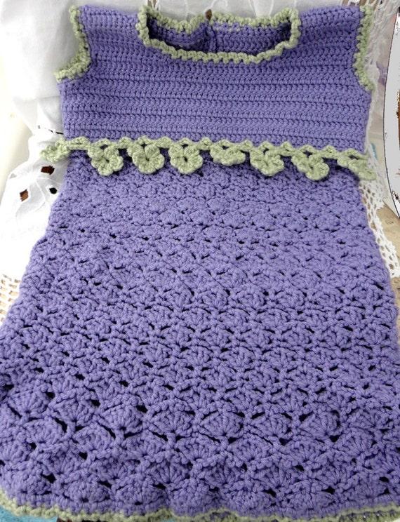 Little Girl/Toddler Dress - Lavender and Green  - Hand-Crocheted