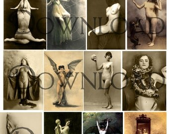 Skulls, Bats, Devils, & Snakes... Vintage Nude Photo Instant Download... Digital Scrapbooking Collection by Lovalon