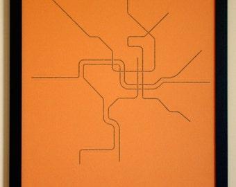 Washington, D.C. Typographic Transit Map Poster (Orange)