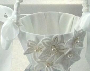 Wedding Flower Girl Basket  Vintage White Lace Flowers - Wedding White Flower Girl Basket - Ready to Ship