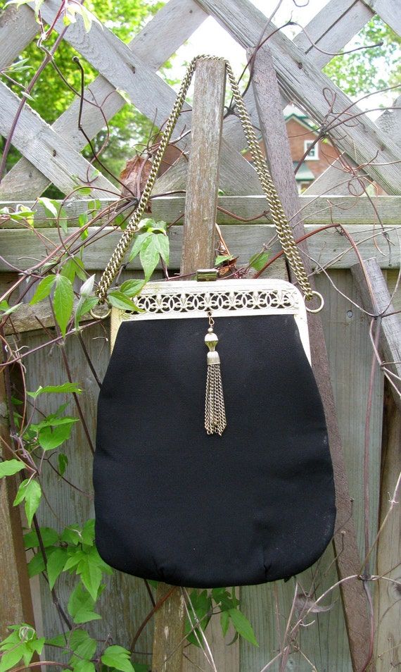 Vintage Black Purse 1960s Art Deco style black and gold with adjustable chain strap