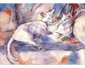 white cats art print  - Cat Watercolor  - 7 x 5  - Alisa Wilcher