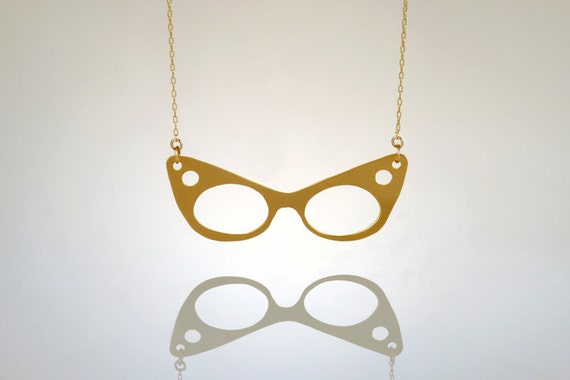 Golden Cat Glasses Necklace, Sun Glasses Hipster Charm, Resort Style- Handmade- Ready to Ship
