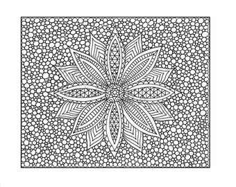 Zentangle Inspired Coloring Page PDF printable Zendoodle Flower, Page 10