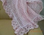 Intricate Crochet Baby Blanket Pattern : Items similar to PINK crocheted baby blanket, fan pattern ...
