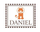 """Boy Wall Decals Personalized Name Vinyl Wall Decal Monogram Name Lion Polka Dot Rectangle Frame Border Boy's Room 22""""Hx28""""W FS203"""
