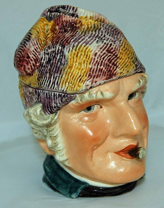 Antique ENGLISH TOBACCO MAJOLICA Figural Large Jar Man W/ Cigar Colorful Textured Hat Blue Jacket Ca 1900 Exc Vintage Condition No Repairs