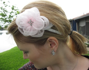 Soft Pink Organza Flower Headband with Pearls and Crystals, for wedding, bridal party, bridesmaid, occasion