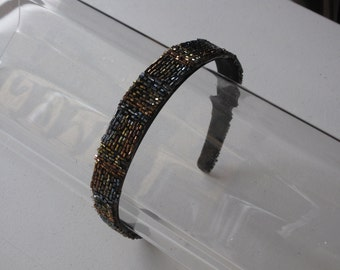 Brown Multi-Colored Beaded Headband, for weddings, parties, evening, night out, holiday, festive