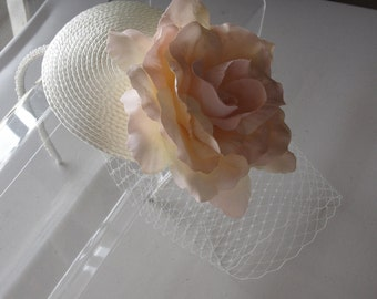 Silk Flower Ivory Straw Fascinator Hat with Veil and Pearl Beaded Band, for weddings, parties, special occasions